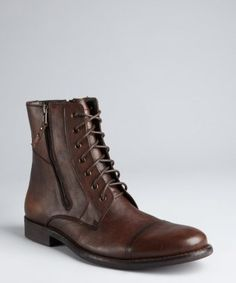 Kenneth Cole Reaction : brown leather 'Hit Men' lace-up boots : style # 319011201