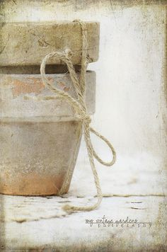weathered terra cotta pots tied up with twine...wonder how I can faux weather my pots......