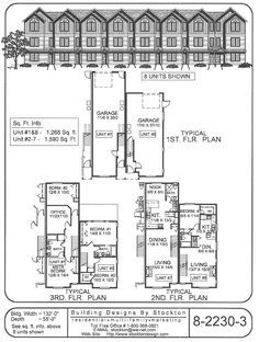 Building Designs by Stockton 15' narrow row house with garage