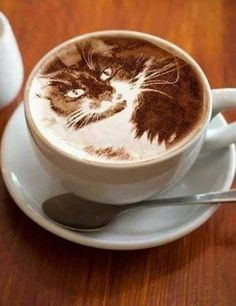 Coffee Art. Latte Art of Cat. Probably one of the best latte arts we've ever seen! #KittyCoffee Cats and Coffee...