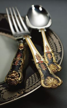 For that special occasion! - 24 carat gold plated & hand applied enamel silver cutlery - Anastasia special limited edition from Royal Buckingham