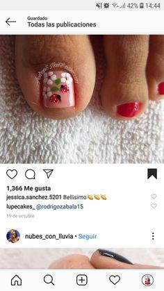 Toe Nail Art, 3d Nails, Ladybug, Nail Art Designs, Eye Makeup, Manicure, Finger Nail Painting, Pretty Pedicures, Nail Designs