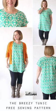 Featured on, 6 free easy sew tunic patterns. Sew your own stylish tunic with these easy to sew patterns. Tunics look great and are easy to sew. Blouse Pattern Free, Tunic Sewing Patterns, Japanese Sewing Patterns, Tunic Pattern, Dress Patterns, Pattern Sewing, Easy Patterns, Clothing Patterns, Free Pattern