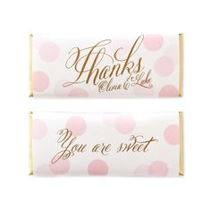 Confetti Thanks Personalized Candy Bar Wrapper from Sweet Paper Shop | Wedding, Birthday, Graduation, Bridal & Baby Shower Favor | Featured in Blush pink & Gold colors I Choose your colors and words. Printed on shimmer paper. Foils included. Overwraps a Hershey's 1.55 oz chocolate.