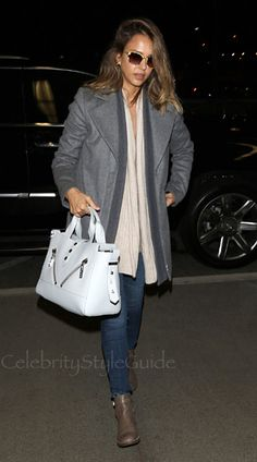 13f945e06870 SHOP Thakoon Thakoon Brushed Wool Rib Front Coat Seen On Jessica Alba  Celebrity Style Guide