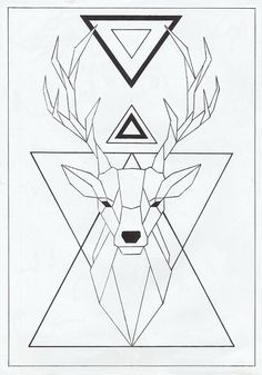 Geometric Deer, Geometric Drawing, Pencil Art Drawings, Art Sketches, Hirsch Tattoos, Tape Art, Deer Tattoo, Drawing Techniques, String Art