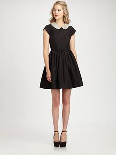Kate Spade New York Kimberly Dress Offering ladylike charm, a cotton-silk dress with a bejeweled Peter Pan collar. Zooey Deschanel, Trendy Outfits, Fashion Outfits, Womens Fashion, Dress Fashion, Peter Pan, Taylor Swift, Pretty Dresses, Dresses For Work
