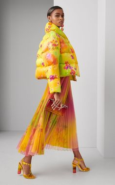 Shop Dakota Floral Taffeta Down Jacket. Ralph Lauren's 'Dakota' jacket features the signature motif of the Resort collection -- a vibrant airbrush-meets-watercolor print that will brighten up even the chilliest days. Fashion 2020, Runway Fashion, Spring Fashion, High Fashion, Fashion Outfits, Womens Fashion, Fashion Tips, Fashion Design, Fashion Trends