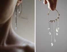 Quartz Crystal Ear Cuff. Oxidized Silver Ear Wrap. No by knobbly, $59.00