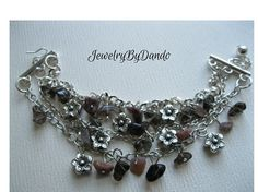 Sterling Silver Rock Garden Bracelet ~ Smoky Quartz and Unakite Chips ~ Silver Flower Charms ~ Extender Chain