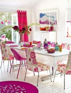 pink and floral upholstery dining chairs create that awesome girlish vibe