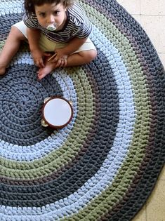 Crochet Rug Round Rug Colorful Rug Children Rug by OmaniStudio, ₪900.00