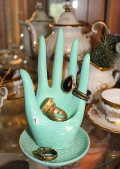 Ring Holder, Open hand Ring stand Jewelry Stand Jewelry Display Robin's egg blue ring Organizer ring hand stand ring organizer quirky geeky