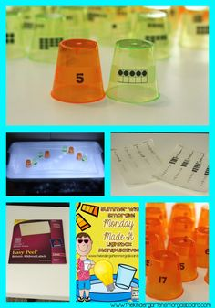 Plastic cups and clear address labels make simple and cheap math center activities!
