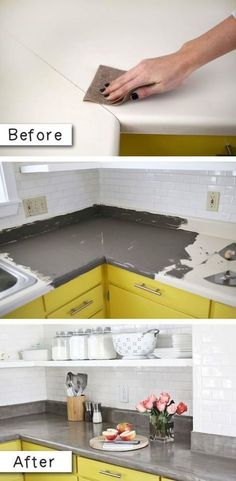 Easy Home Repair Hacks - Cover Up Laminate Countertops - Quick Ways To Fix Your Home With Cheap and Fast DIY Projects - Step by step Tutorials, Good Ideas for Renovating, Simple Tips and Tricks for Home Improvement on A Budget - Save Money and Time on Small Bathrooms, Kitchen, Bathroom, House and Household http://diyjoy.com/best-home-repair-hacks #smallbathroomrenovations #smallhomeimprovementideas #homeimprovementtricks