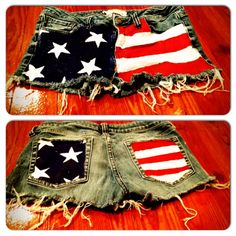 4th of July shorts...   Its really simple to make. Just find an old pair of jean or shorts or jeans and cut them to make shorts. Then, use a paintbrush and red, white, and blue acrylic paint. And paint the American flag onto your shorts. I cutout a picture of a star and outlined it with white paint on the shorts, and then I filled it in.