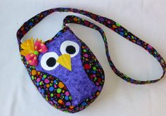 Owl purse, cross body, Purple and multi colored circle fabric,Girls Handmade owl purse with adjustable strap.