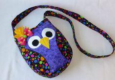Owl purse, Owl cross body, Purple and multi colored circle Owl fabric, Owl Girls Handmade owl purse with adjustable strap