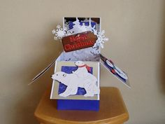 Made by Georgina Smith - I used the tattered lace polar bear die and other embellishments. I love the box cards. Diy Christmas, Christmas Cards, Christmas Ornaments, Exploding Box Card, Craft Box, Polar Bear, Embellishments, Card Ideas, Card Making