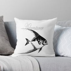 'Adventurer The Fish' Throw Pillow by Beer-Bones Adventurer, Designer Throw Pillows, Pillow Design, Bones, Fish, Art Prints, Printed, Awesome, Products