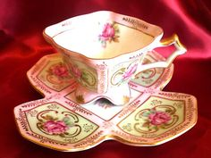 ROYAL SEALY SQUARE PALE PINK 4 FOOTED TEACUP  PANELED ROSE CUP AND SAUCER