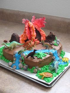 dinosaur birthday cakes for boys | Made for a boy's 6th birthday. Gluten-free, egg-free, dairy-free, and ...