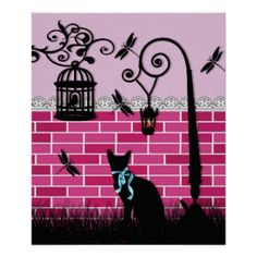 a girly, modern and cute design of silhouette black vector of a cute cat wearing a teal blue ribbon on grass with a cool street lamp post with light, a vintage bird cage with shabby chic swirls , a whimsical bird and cute little dragonflies, damselflies flying around on on pink and fuchsia traditional retro brick wall with white lace and dentelle as fence. a cool, modern and original gift for cat, bird, nature and abstract art lover!. perfect for the girly girl, #cat #bird #cage #dragonfly…