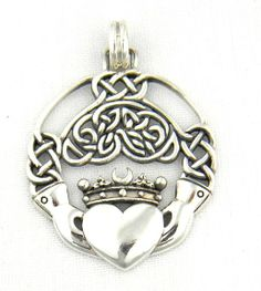 Sterling Silver Celtic Claddagh Pendant Charm with Intricate Celtic Knot Work Irish - The Claddagh is an Irish symbol of friendship, love, and loyalty.