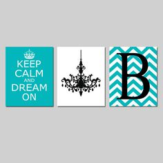 Keep Calm and Dream On Chevron Monogram Initial by Tessyla on Etsy, $59.50