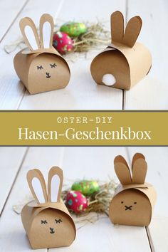 DIY: Osterhasen-Geschenkbox basteln Easter DIY - Easter bunny tinker gift box: Folding the gift box is easy thanks to the Easter bunny template. The Bunny Box is suitable as an Easter table decoration Easter Bunny Template, Bunny Templates, Easter Gift, Easter Crafts, Cute Gifts, Diy Gifts, Diy Y Manualidades, Easter Table Decorations, Holiday Break