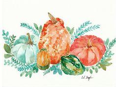 Fall Pumpkin Harvest Painting Original by GrowCreativeShop on Etsy