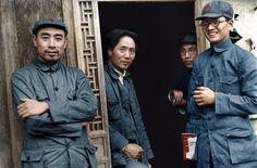 Mao Zedong (center-left) and Zhou Enlai (far left) in Yanan