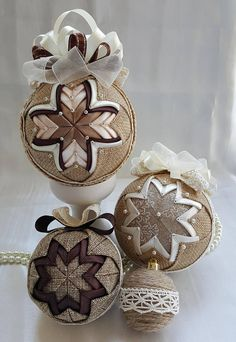A beautiful Christmas ornament, made with lot of patience and love. Behind the delicate work of all my crafts there are feelings to be shown and stories to be told on cold winter nights. These ornaments are for those traditional families that know how to celebrate Christmas. The technique I used for this ornament is quilting and decoupage. The Styrofoam ball ( 3.14 in/ 8 cm diameter) is dressed up in satin and organza. This beautiful ornament can be hang on the Christmas tree or it can b...