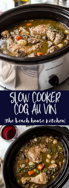 Slow Cooker Coq Au Vin | An elegant, flavorful weeknight meal made easy in your slow cooker!