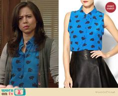 Chloe's blue heart print top on Manhattan Love Story.  Outfit Details: http://wornontv.net/37952/ #ManhattanLoveStory