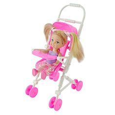 Màu hồng xinh đẹp xe đẩy em bé vận chuyển trẻ sơ sinh xe đẩy xe đẩy nursery đồ nội thất cho barbie búp bê christm đồ chơi quà tặng cho bé cô gái
