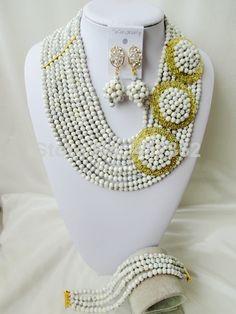 Amazing White Turquoise Necklace Nigerian Wedding African Beads Costume Jewelry Set 2014 New Free Shipping TC026 $68.88