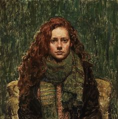 Travis Schlaht,'Girl in Green', oil on linen.