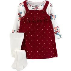 Carter's Baby Girl Polka-Dot Corduroy Jumper Floral Tee & Tights Set - March 17 2019 at Baby Outfits, Outfits Niños, Winter Outfits For Girls, Newborn Outfits, Baby Girl Dresses, Toddler Outfits, Kids Outfits, Baby Dress, Dress Set