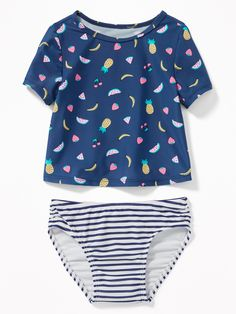 31e4bd2a52f39 Old Navy Fruit-Print Rashguard & Bow-Tie Bikini Swim Set for Toddler Girls
