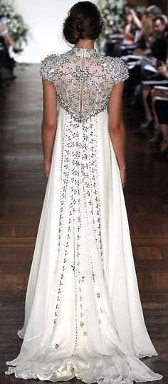 White & Silver Embellished Wedding Dress