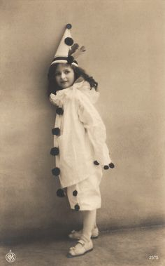 The Sweet Pierrette… 1900s Original Antique RARE French Photo Postcard… Edwardian Children Little Girl in Fancy Carnival Clown Cool Costume
