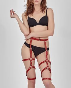 Waist to thigh harness, Fetish harness, leather leg garter, sexy stocking