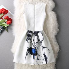 lady small fresh ink blue butterfly sleeveless vest dress women Princess Dress-in Dresses from Women's Clothing & Accessories on Aliexpress.com | Alibaba Group