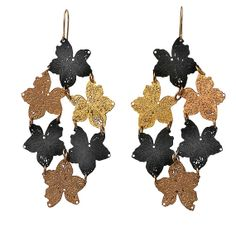 Long black and gold plated nature leaf metal lace by inbarshahak