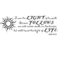 John 8:12  Bible Verse Wall Decal   Scripture Wall by DivineWalls