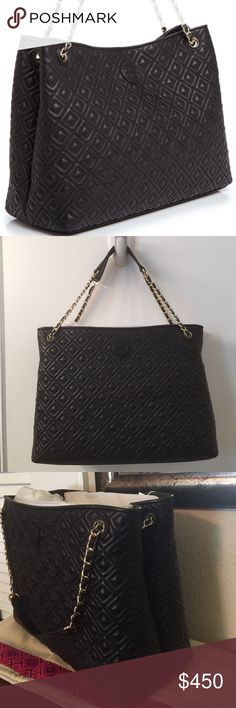 """🆕Tory Burch Marion Quilted Black Leather bag. NWT This Beautiful quilted Black Lambskin Leather chain strap shoulder bag is a classic that will never go out of style. The front of the bag has the signature double """"T"""" in raised leather. Inside it has a large zipper middle compartment. It has a signature jacquard lining with 3 horizontal pockets and 1 additional large side zip pocket. Top magnetic closure. Still selling at Neiman Marcus, Saks, Nordstrom, Bloomies, etc. for $550.00. Comes with…"""