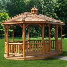 Cabinfield  Oval Cedar Log Gazebo