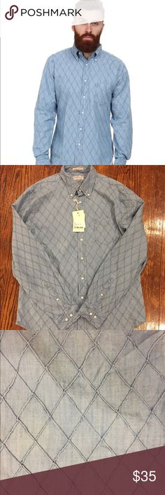 Men's chambray shirt by Gant NWT button down shirt by Gant. Beautiful and soft chambray material. Stylish diamond detailing. Size XL.  Chest: 22.5 inches across Sleeve length to shoulder seam: 27 inches Gant Shirts Casual Button Down Shirts