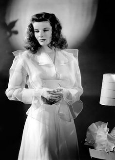 Katharine Hepburn in a publicity still for The Philadelphia Story (1940), directed by George Cukor. Costumes designed by Adrian.
